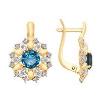 Серьги из золота с синими топазами и Swarovski Zirconia
