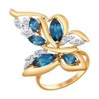 Кольцо «Бабочка» из золота с синими топазами и фианитами