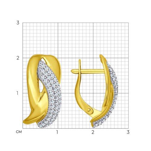 Серьги из желтого золота с фианитами (026992-2) - фото №2