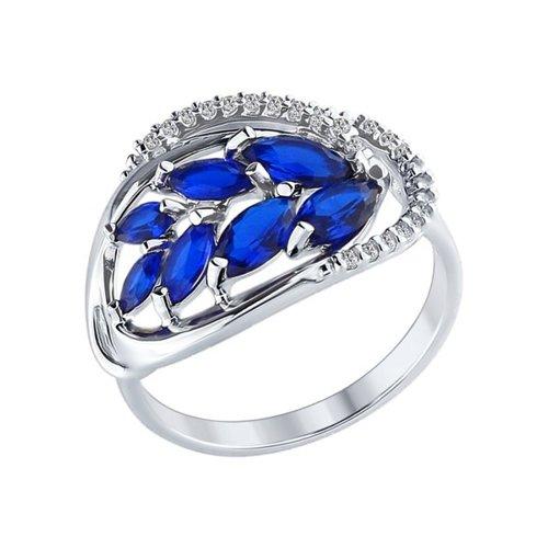 Кольцо из серебра с бесцветными и синими фианитами