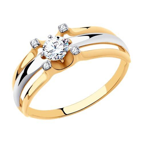 Кольцо из золота с фианитами (018524) - фото