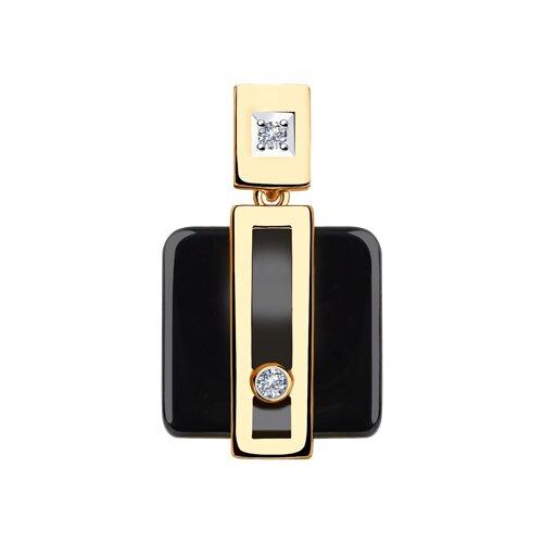 Подвеска из золота с бриллиантами и чёрной керамикой