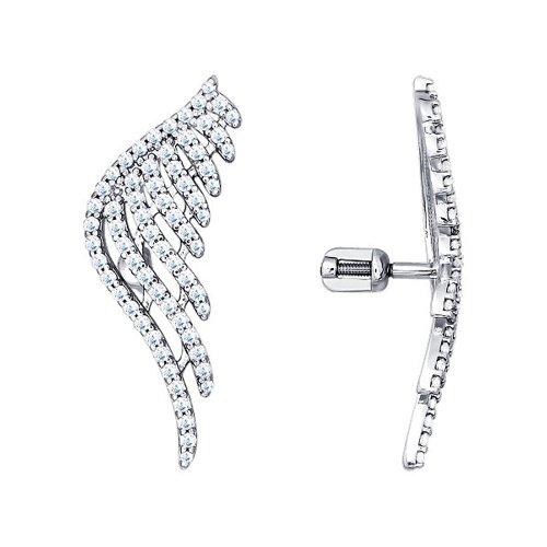 Серьги-крылья SOKOLOV из серебра с фианитами