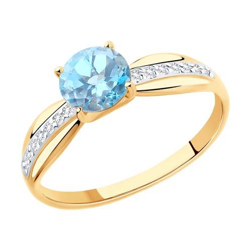 Кольцо из золота с топазом и фианитами (715947) - фото