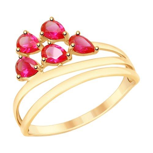 Кольцо из золота с красными корунд (синт.) (715336) - фото