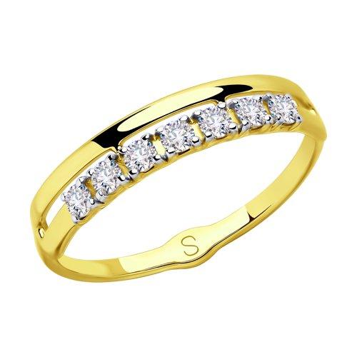 Кольцо из желтого золота с фианитами Swarovski (81010414-2) - фото