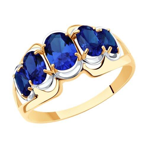 Кольцо из золота с корундами сапфировыми (синт.) (714436) - фото