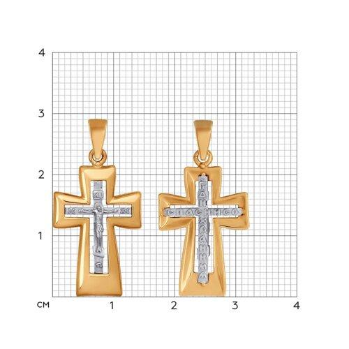 Крест из комбинированного золота (121339) - фото №2