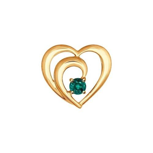 Подвеска «Сердце» из золота с изумрудом