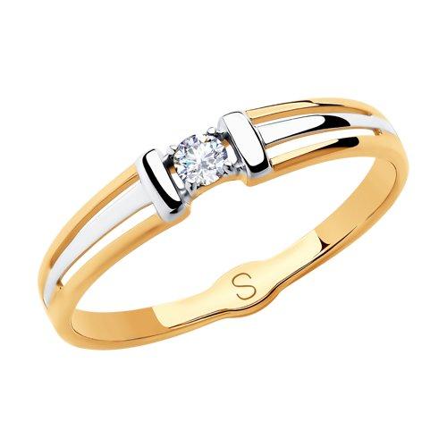 Кольцо из золота с фианитом (018140) - фото