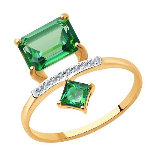 Кольцо из золота с бриллиантами и топазами Сваровски
