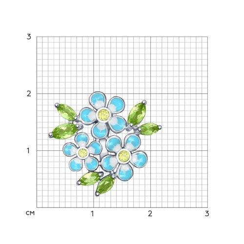 Подвеска «Цветы» с эмалью (92030436) - фото №2