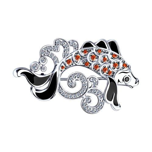 Брошь из серебра с эмалью и фианитами (94040154) - фото