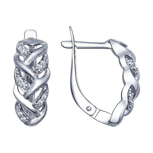 Серьги из серебра с фианитами (94022499) - фото