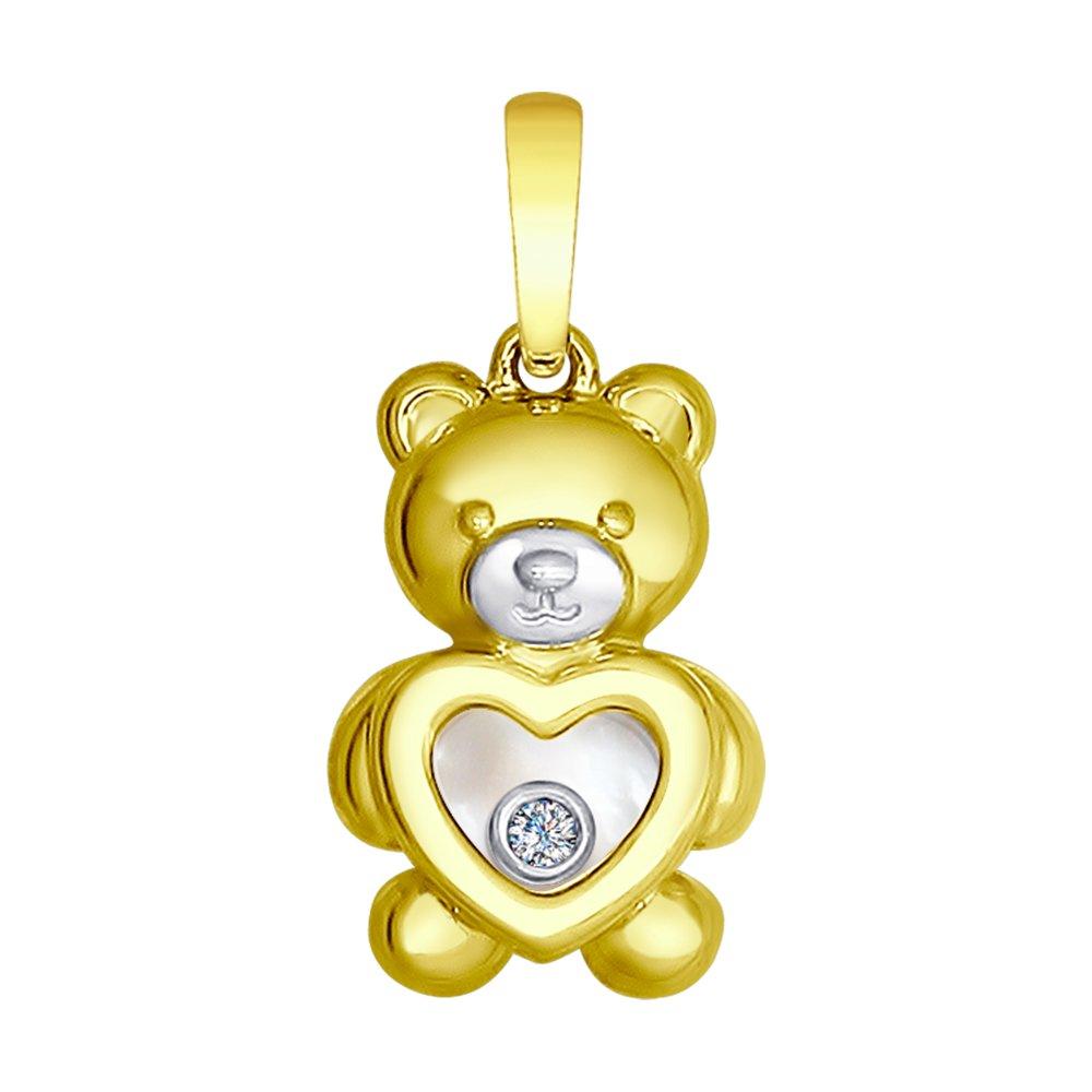 Фото - Подвеска SOKOLOV из желтого золота с бриллиантом «Мишка» подвеска sokolov из желтого золота с бриллиантом