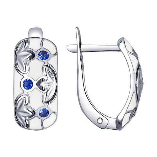 Серьги из серебра с эмалью и фианитами (94022627) - фото