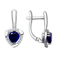 Серьги из белого золота с бриллиантами и синими корундами (синт.)