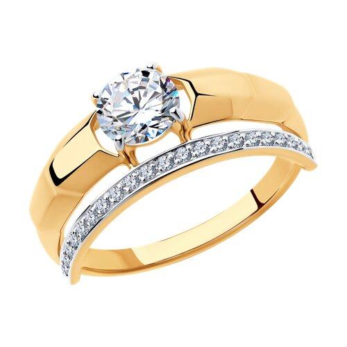 Кольцо из золота с фианитами (018336) - фото