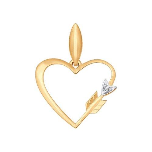 Подвеска из золота с фианитом (034791) - фото