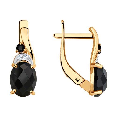 Серьги SOKOLOV из золота с чёрными агатами и бесцветными и чёрными фианитами кольцо sokolov из золота с бесцветными и чёрными фианитами