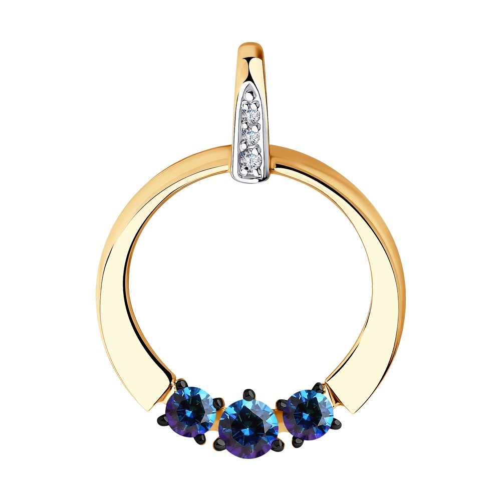 Подвеска SOKOLOV из золота с бесцветными и синими Swarovski Zirconia подвеска из комбинированного золота с бесцветными и синими фианитами