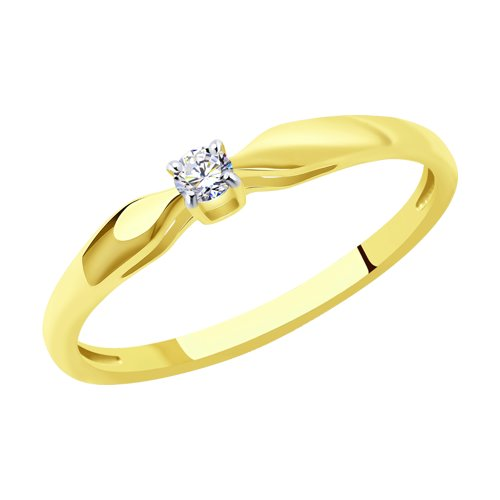 Помолвочное кольцо из желтого золота с бриллиантом