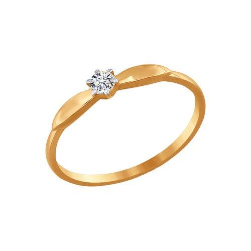 Помолвочное кольцо из золота с фианитом (016538) - фото