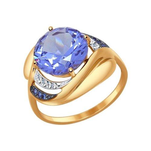 Кольцо из золота с ситаллом и синими и бесцветными фианитами