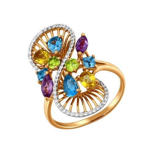 Золотое кольцо с миксом из камней