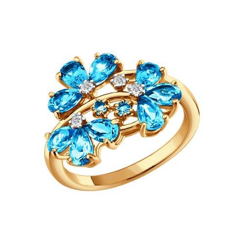 Золотое кольцо с цветами SOKOLOV из топазов золотое кольцо ювелирное изделие 01k626002