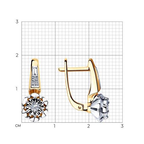 Серьги из комбинированного золота с бриллиантами 1021301 SOKOLOV фото 2