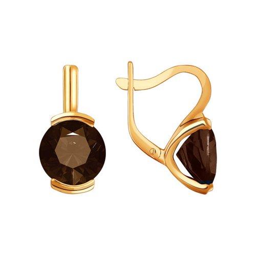 Золотые серьги с раух-топазом SOKOLOV