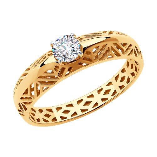 Кольцо из золота с фианитом (018378) - фото