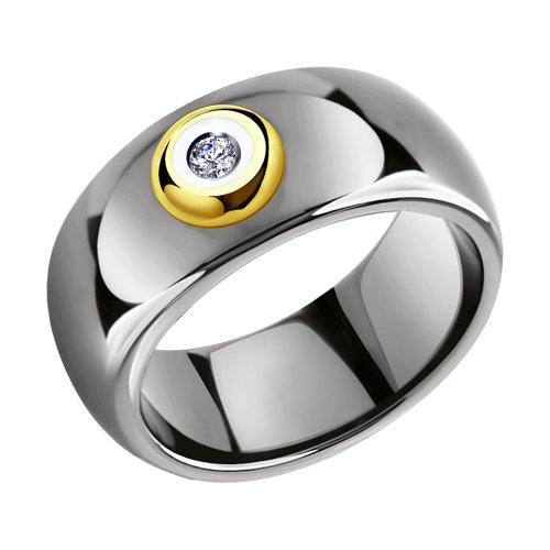 Керамическое кольцо с желтым золотом и бриллиантом