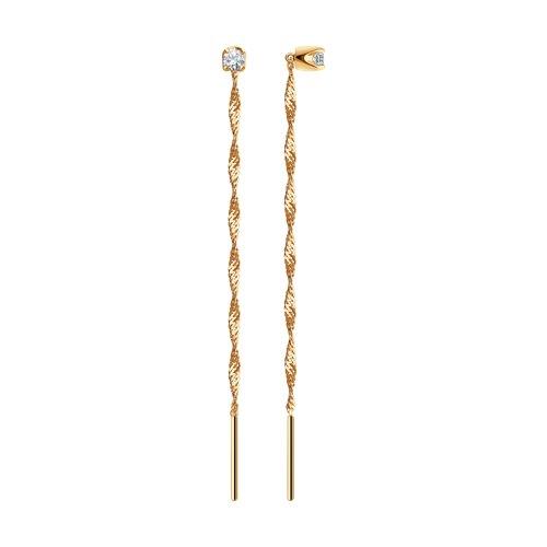 Серьги-цепочки из золота с фианитами (020610) - фото