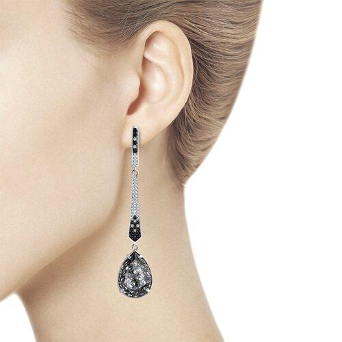 Серьги из серебра с чёрными кристаллами Swarovski и фианитами (94023612) - фото №3