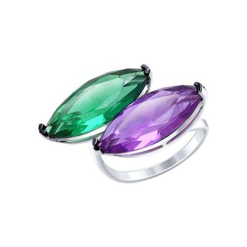 Кольцо из серебра с сиреневым и зелёным ситаллами