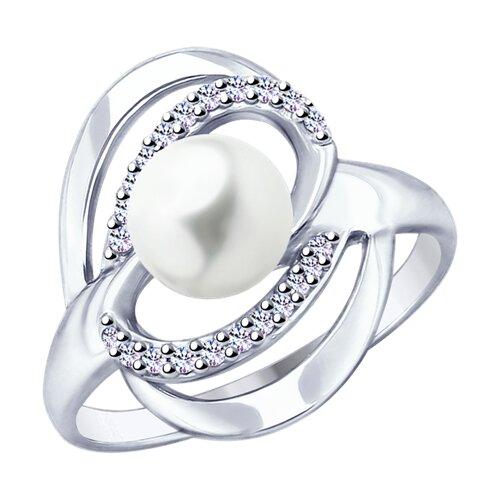 Кольцо из серебра с жемчугом и фианитами (94012822) - фото