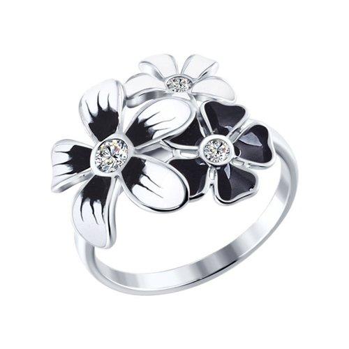 Кольцо из серебра c цветами