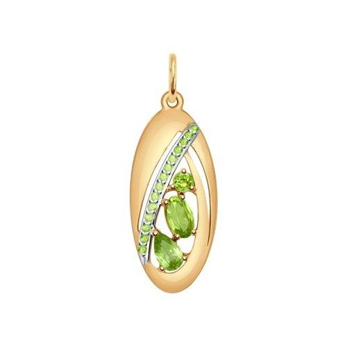 Подвеска из золота с хризолитами и зелеными фианитами