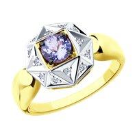 Кольцо из желтого золота с бриллиантами и танзанитом