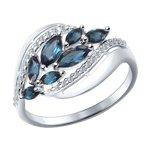 Кольцо из белого золота с синими топазами и фианитами