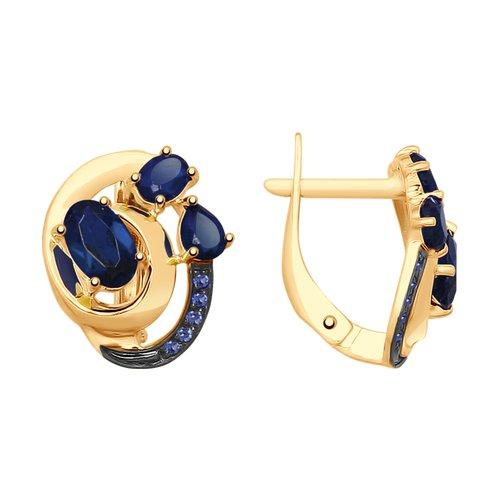 Серьги из золота с синими корундами (синт.) и фианитами (725486) - фото