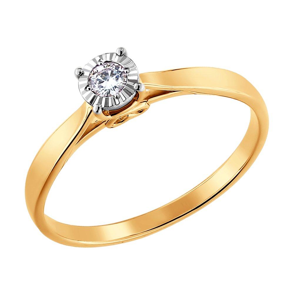 Красивое золотое кольцо с бриллиантом SOKOLOV