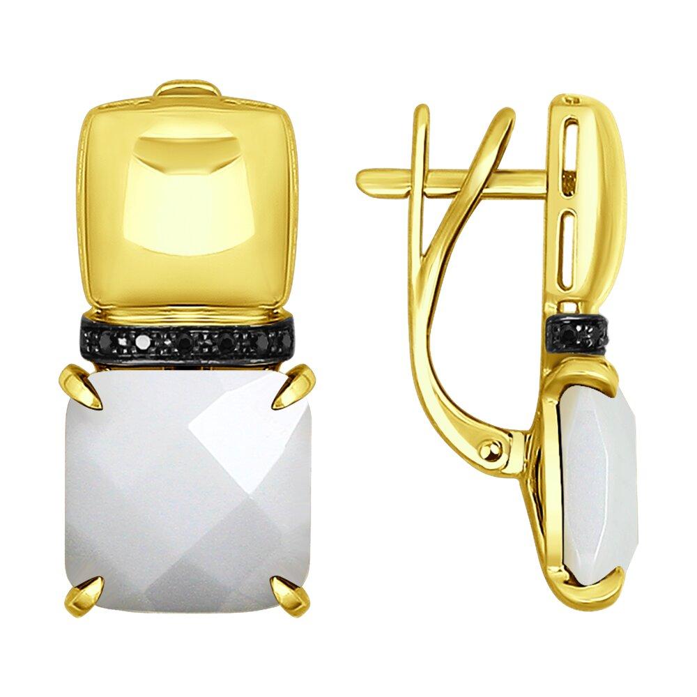 Серьги SOKOLOV из желтого золота с черными облагороженными бриллиантами и керамическими вставками