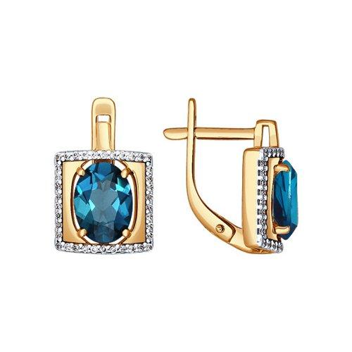 Золотые серьги с топазом london blue в квадратной окантовке SOKOLOV из фианитов
