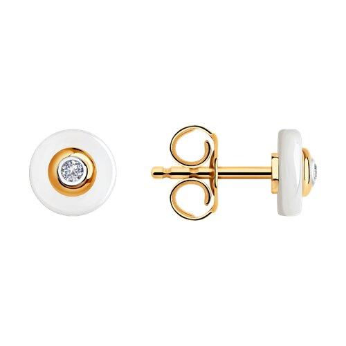 Серьги из золота с бриллиантами и керамическими вставками 6025132 SOKOLOV фото