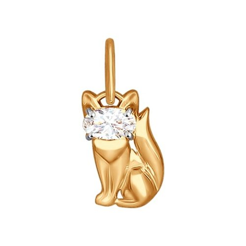 Подвеска «Кошка» из золота с фианитом
