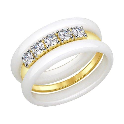 Кольцо из желтого золота с белыми керамическими вставками и фианитами (51017321) - фото