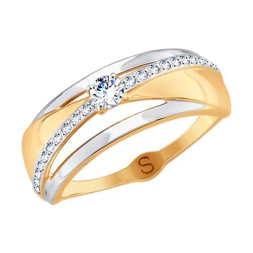 Кольцо из золота с фианитами (017743) - фото